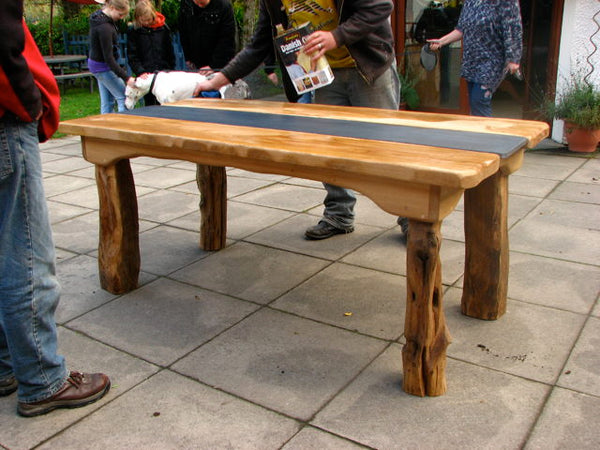 Chunky Patio Table being Oiled