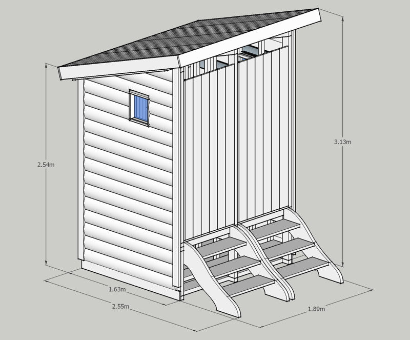 twin compost toilet dimensions