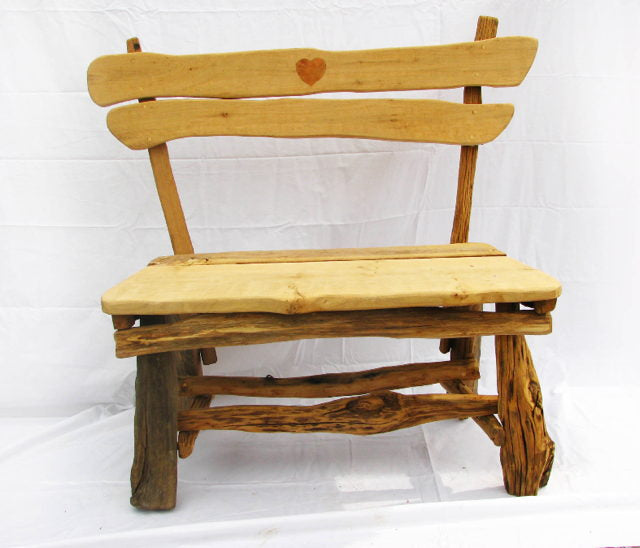 Heart Rustic Garden Bench