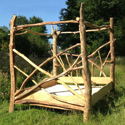 Driftwood Four Poster Canopy Bed, Unique Wooden Bed Frame, Made in UK[Super King Sized]
