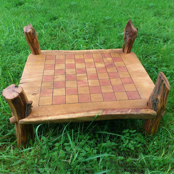 wooden oak chess table