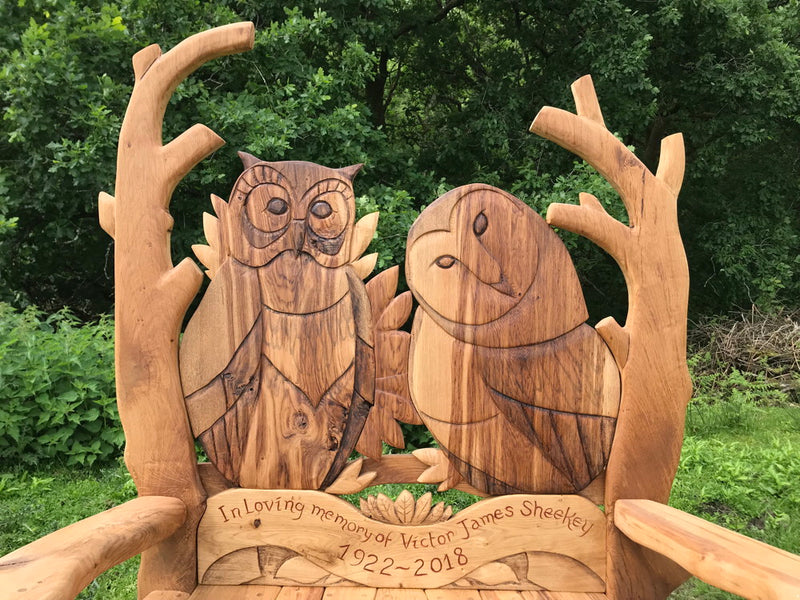 oak engraved memorial bench