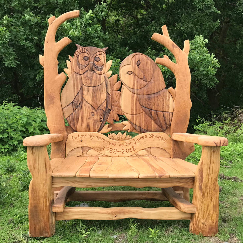 owl oak memorial bench