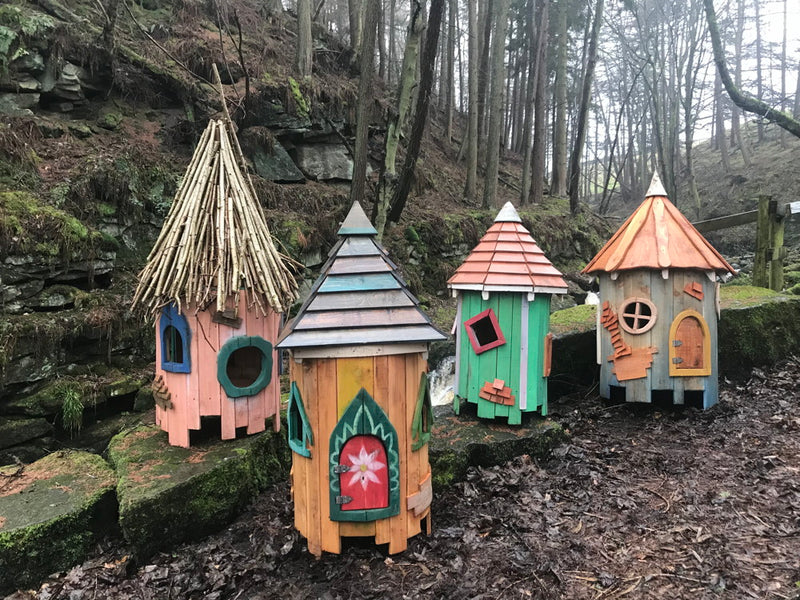fairy tree houses in woodland