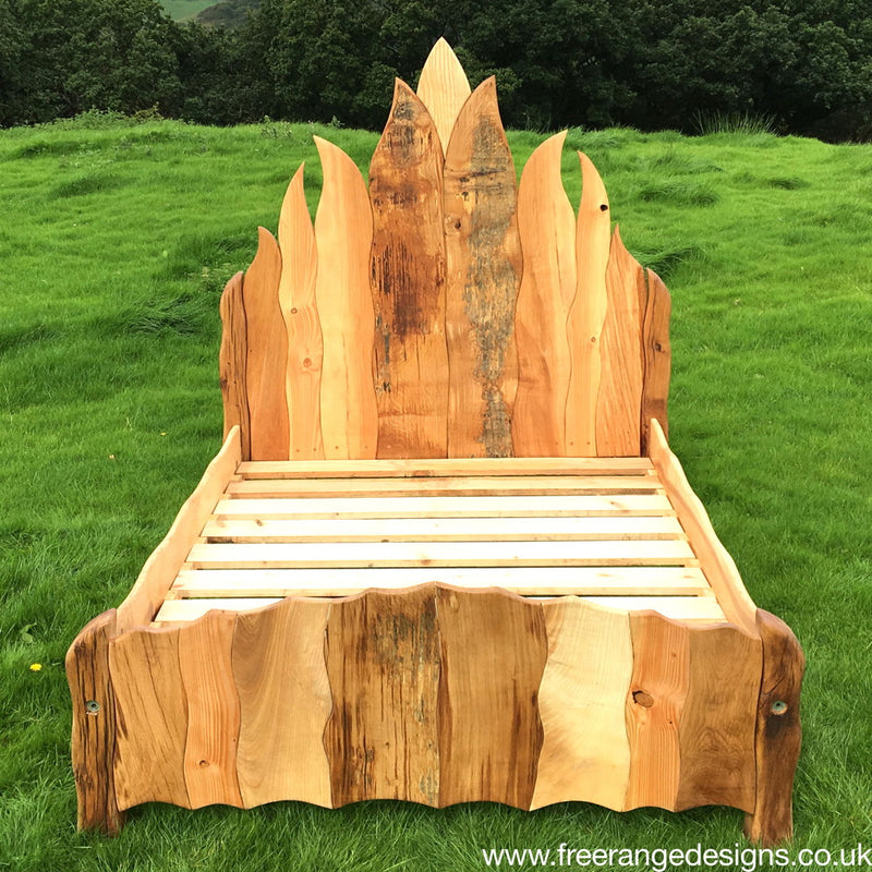 wooden flame bed
