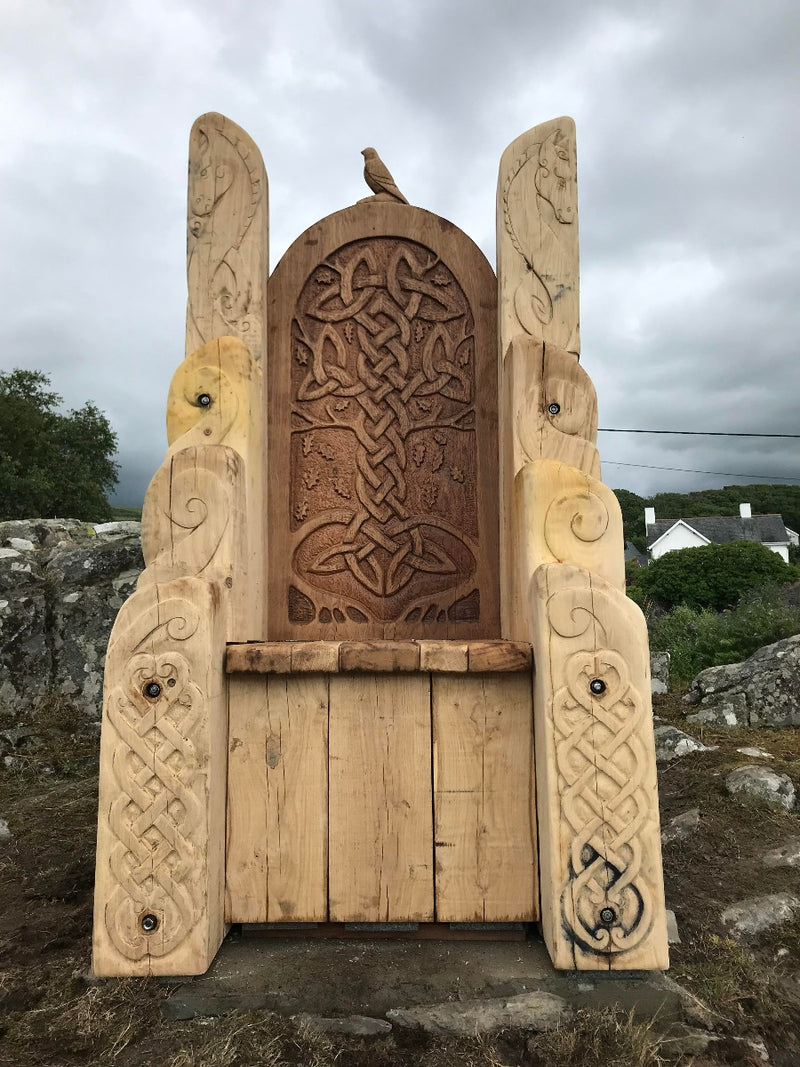 carved wooden throne