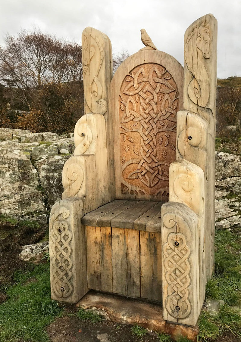carved giant wooden throne