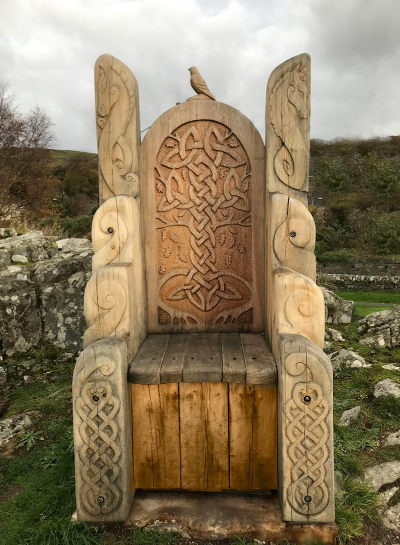 giant wooden chair at Harlech Castle