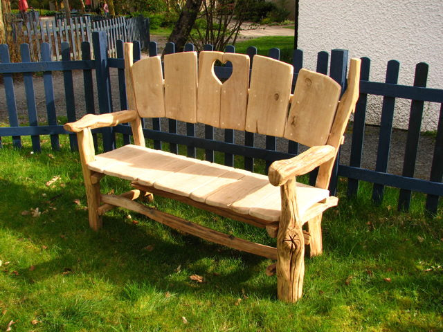 Rustic Heart Fan Bench