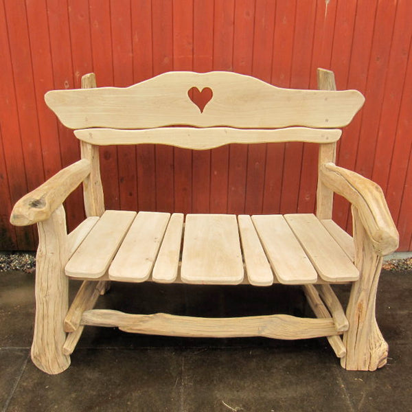 heart oak bench