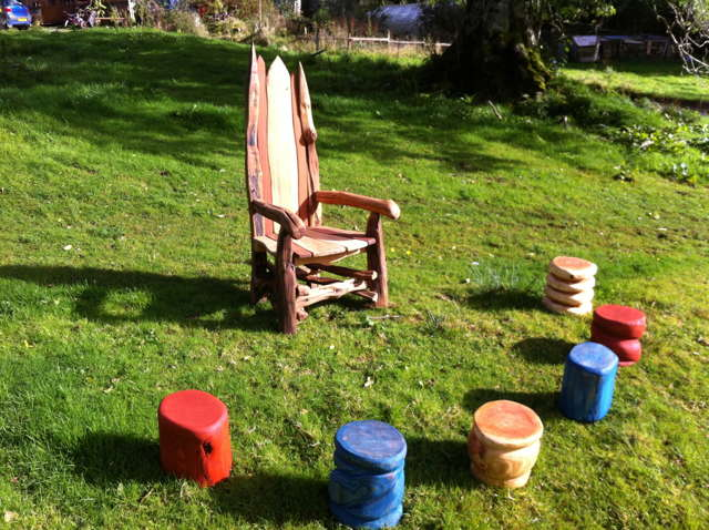 Storytelling Chair and Stools