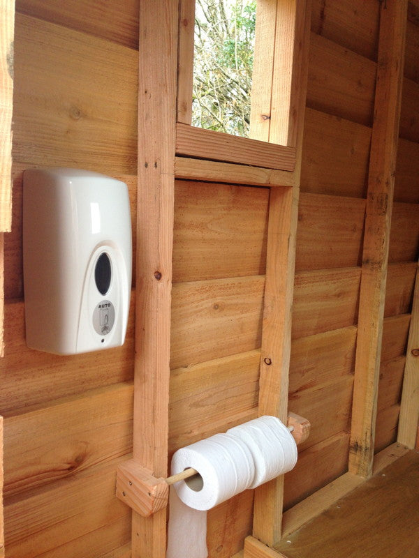 hand dispenser for composting toilet