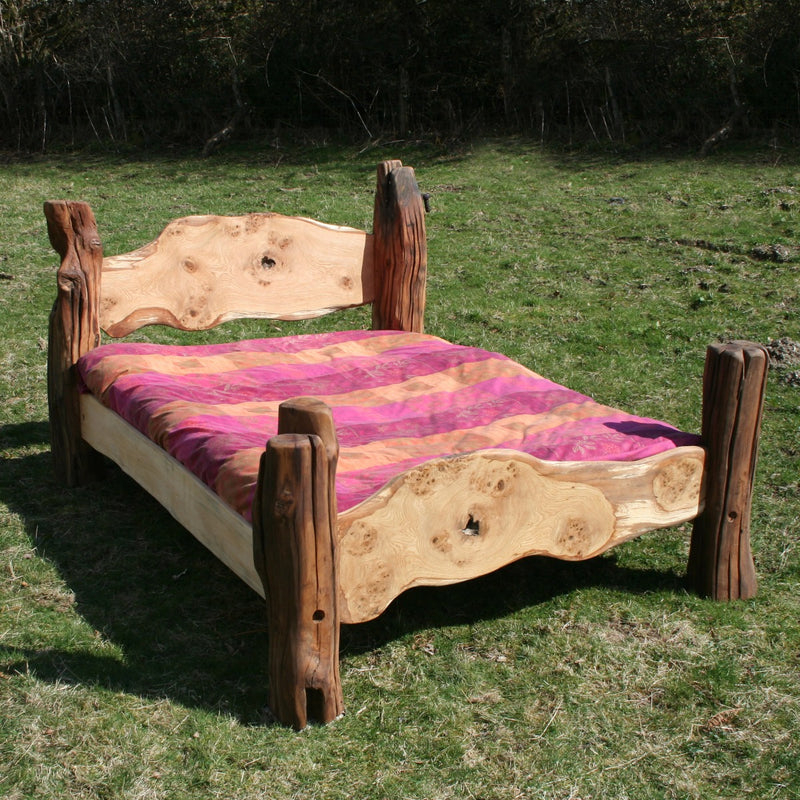 Rustic handmade double bed