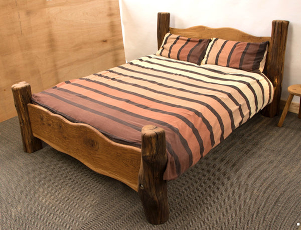 oak bed with pillows
