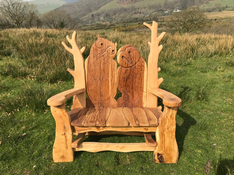 oak garden bench in sun