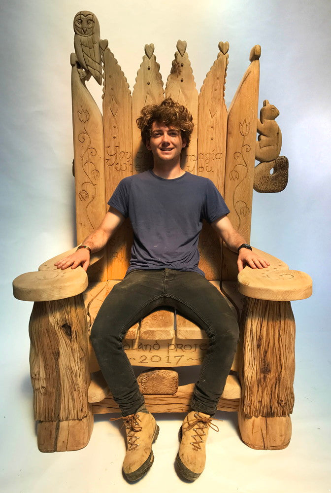 dylan on storytelling chair