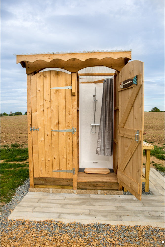 glamping shower in campsite