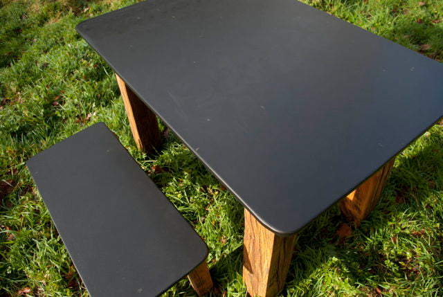 slate garden table with bench