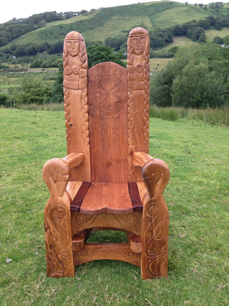 hand-carved-oak throne