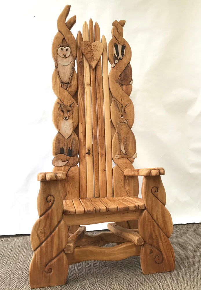 carved woodland creatures throne