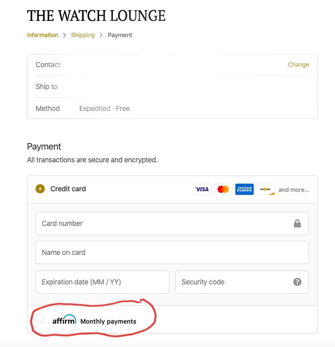 Affirm payment on The Watch Lounge
