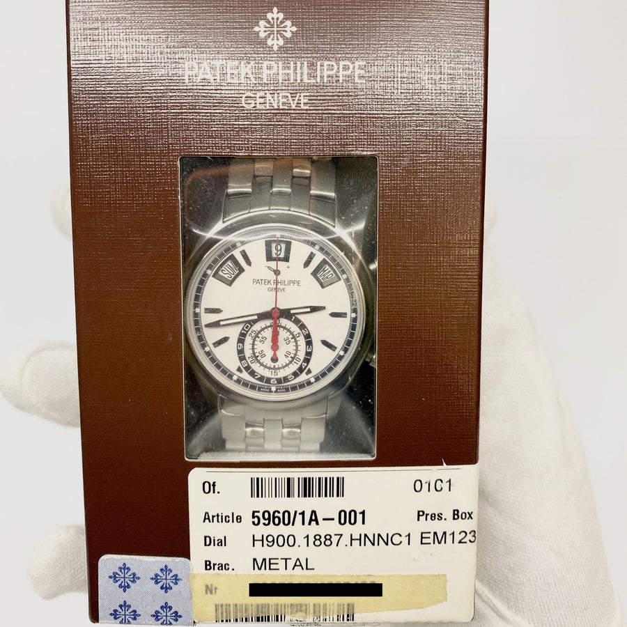 Patek Philippe Annual Calendar Chronograph Complication 5960/1A-001 White Dial - The Watch Lounge Shop 1
