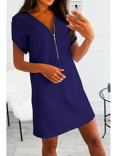 V Neck Zipper Short Sleeve Casual Shift Dresses