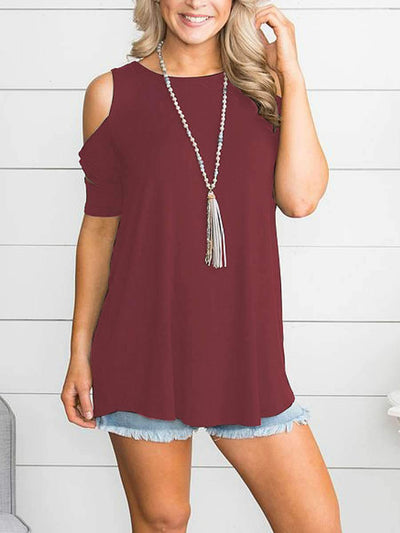 Casual Strapless Knotted Short Sleeve T-Shirt