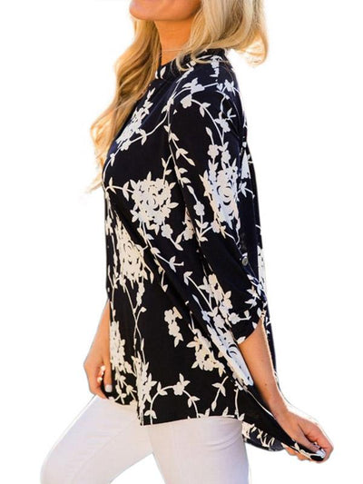 Flower Printed Long Sleeve V Neck Woman Blouses