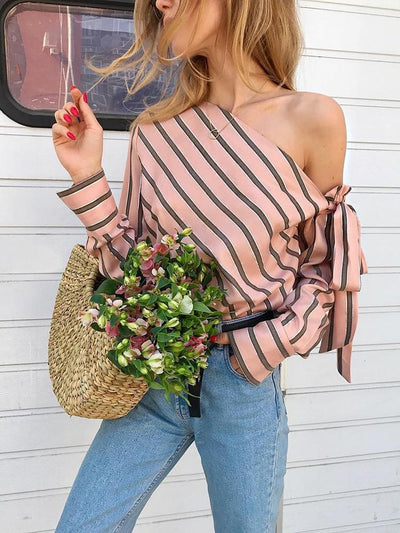 Shoulder slope Bowknot Long sleeve Blouses
