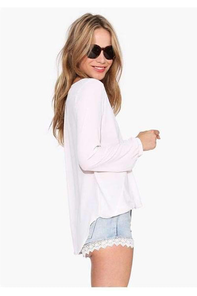 Sexy V neck Long sleeve Chiffon Blouses