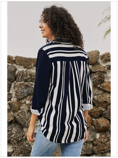 Stripe Lapel Long sleeve Plus Blouses