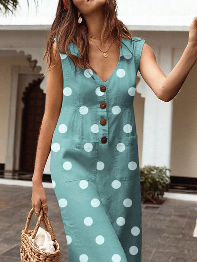 Wave Pot Women V neck Pocket Button Shift Dresses