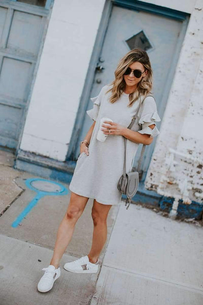Loose Falbala Short sleeve Shift Dresses