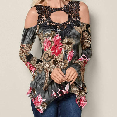 Off shoulder Floral Flare sleeve T-Shirts