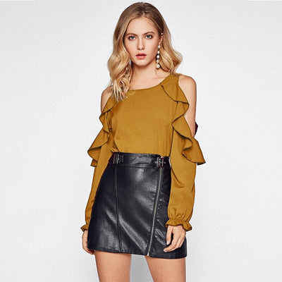 Fashion Off shoulder Long sleeve  Falbala T-Shirts