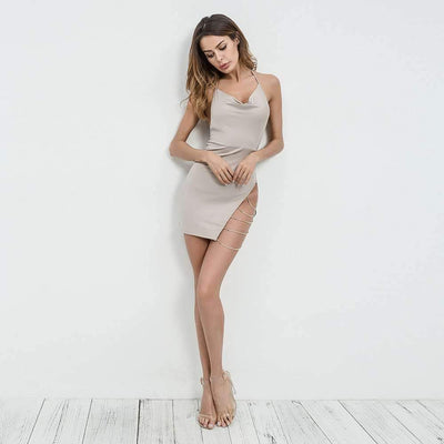 Sexy Backless Vent Halt Lacing Bodycon Dresses