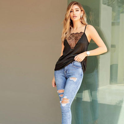 New Lace Gored Backless Vests