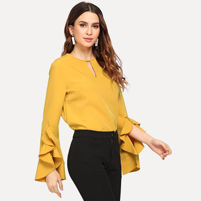 Fashion Pierced Falbala Long sleeve T-Shirts
