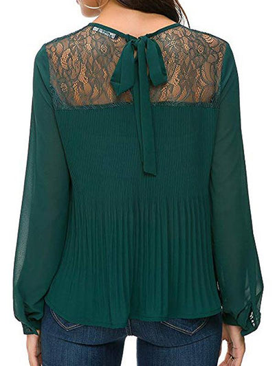 Chiffon Lace Back Lace-up Tie Blouses