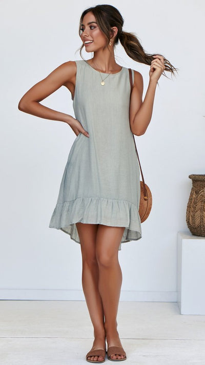 Fashion Round neck Sleeveless Pure Shift Dresses