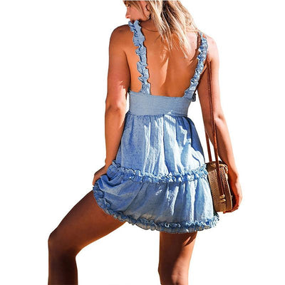 Sexy Backless Bowknot Vest Skater Dresses