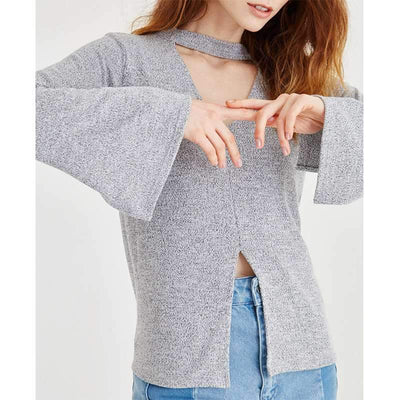 V neck Long sleeve Cutout  T-Shirts