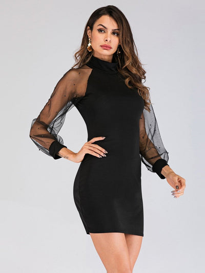 Fashion Sexy Grenadine Gored Long sleeve Shift Dresses