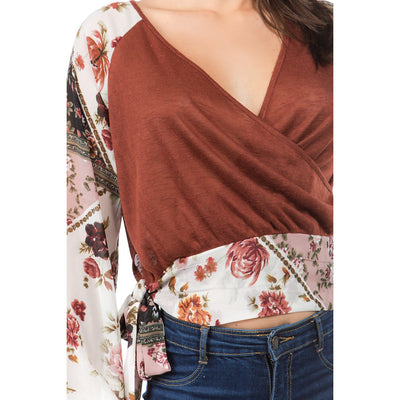 Fashion Floral V Neck Long sleeve T-Shirts