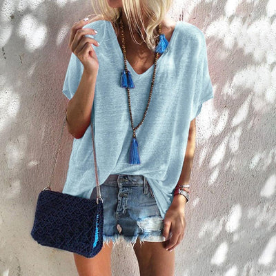 Loose Pure Short sleeve V neck T-Shirts