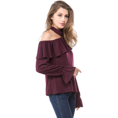 Sloping shoulder Flare sleeve T-Shirts