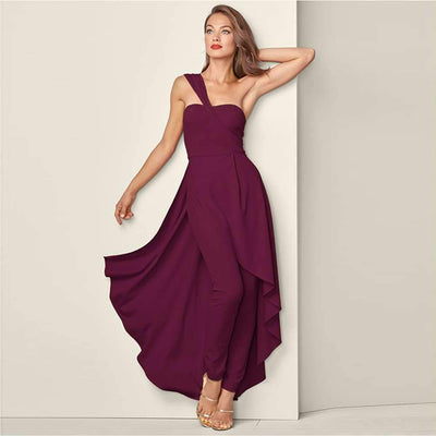 Sexy Pure Single shoulder Jumpsuits Evening Dresses