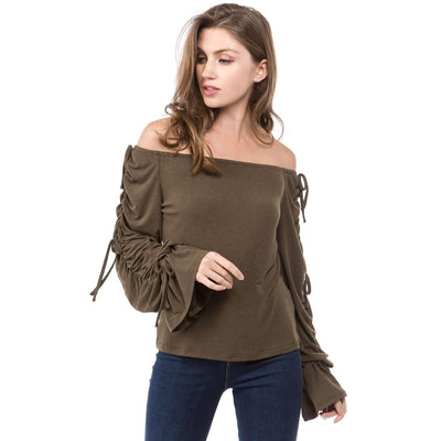Pure Long sleeve Off shoulder T-Shirts