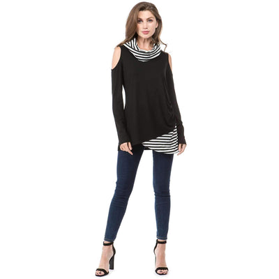 Long sleeve Stripe Gored Irregular T-Shirts